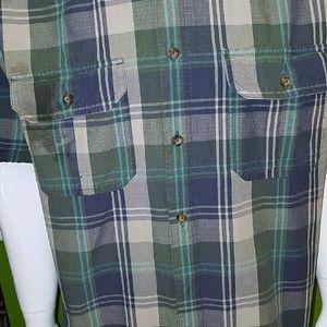 "Woolrich Bue/Green Plaid S/S Shirt ""M""!"